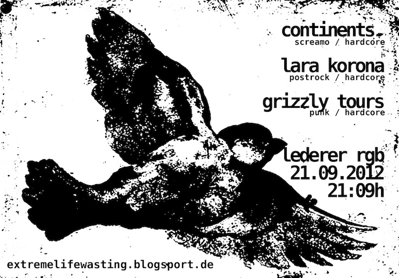 2012-09-21 Continents + Lara Korona + Grizzly Tours Flyer