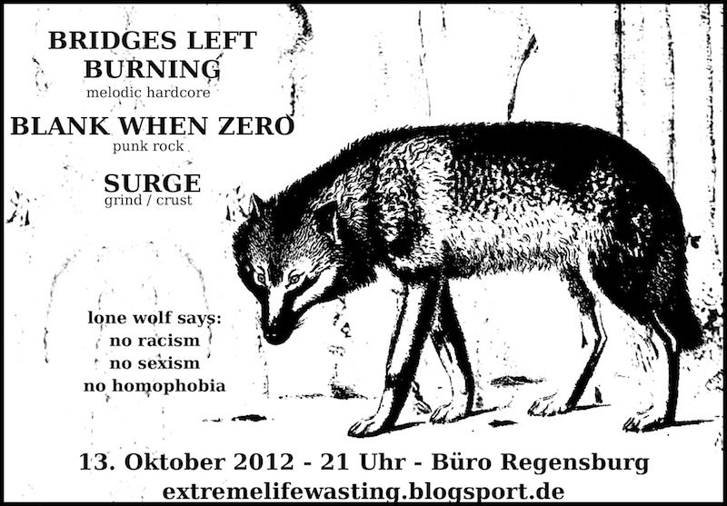 2012-10-13 Bridges Left Burning + Blank When Zero + Surge Flyer
