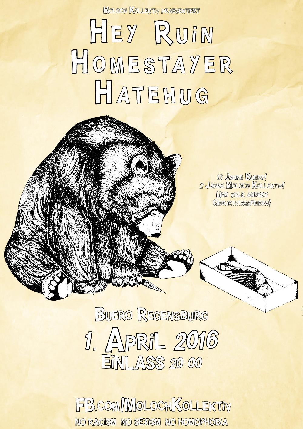 2016-04-01 Hey Ruin + Homestayer + Hatehug + Moloch Kollektiv