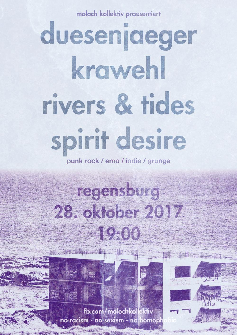 2017-10-29 duesenjaeger + Spirit Desire + Rivers & Tides + Krawehl Flyer
