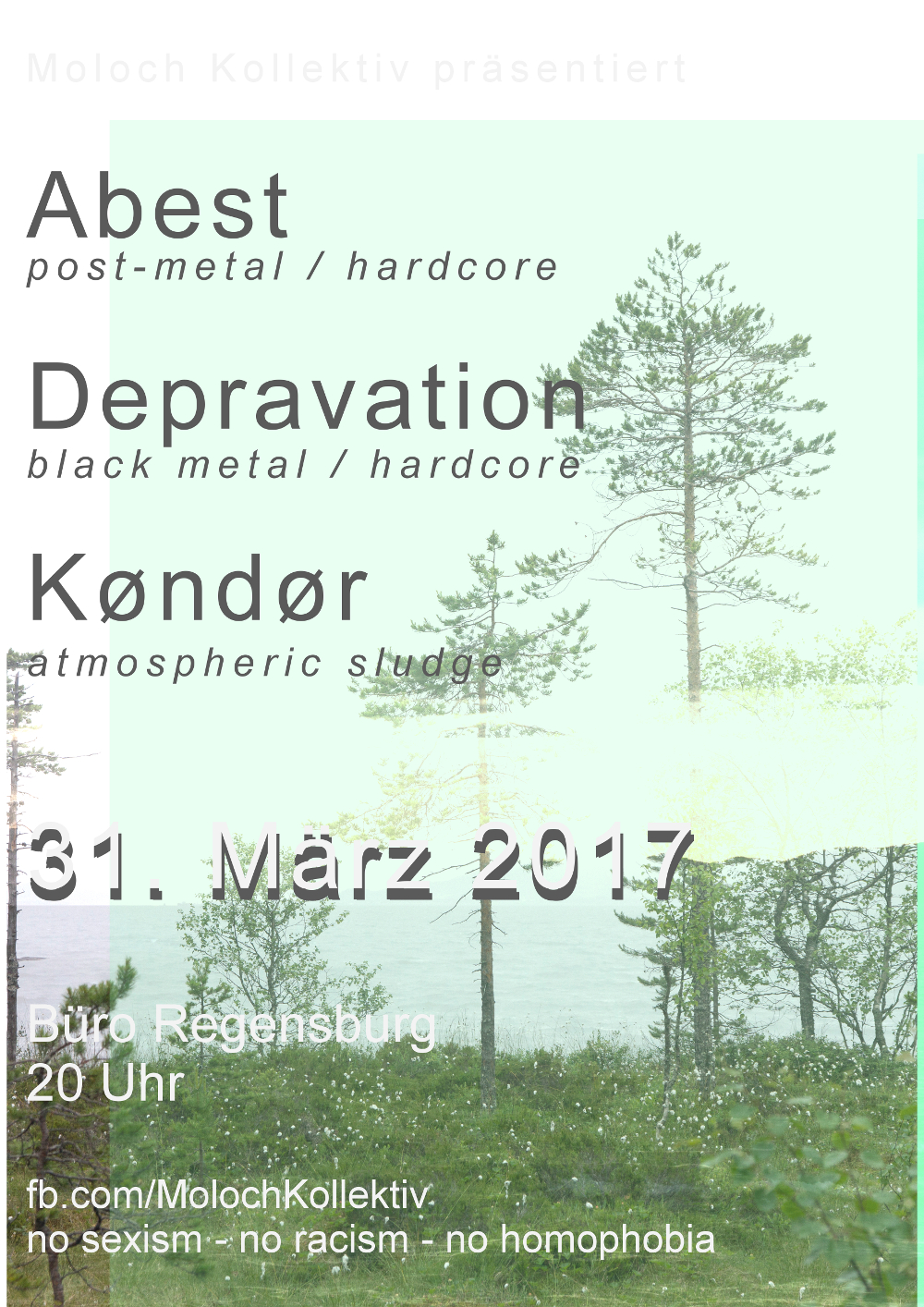 2017-03-31 Depravation + Kondor + Abest + Moloch Kollektiv Flyer