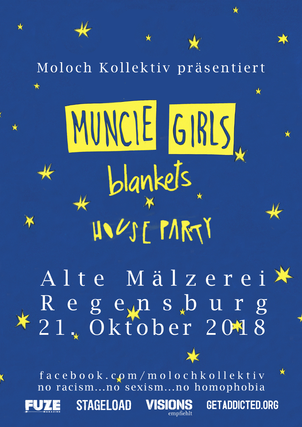 2018-10-21 Muncie Girls + blankets + houseparty flyer